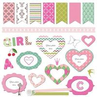 Textile frames. Scrapbook design elements vector