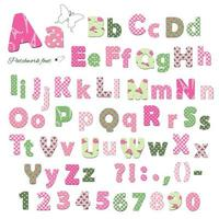 Cute textile font. Patterns under clipping mask. vector