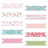 Festive textile ribbons set isolated on white.