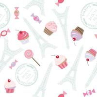 Seamless pattern with Eiffel tower and cupcakes.