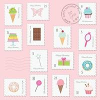 Birthday postage stamps set