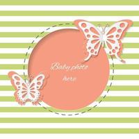 Cute round frame with paper cut butterflies.