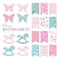Bunting flags set for birthday party design.
