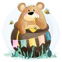 Cute little bear and bee vector