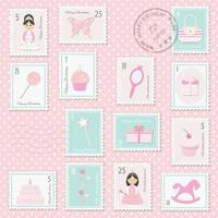 Birthday postage stamps set for girls.