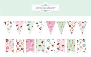 Birthday bunting flags set.