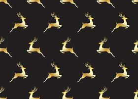 Seamless pattern of golden christmas deers