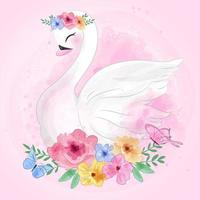 Cute swan and flower