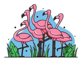 set of cute flamingos vector