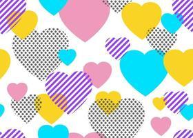 Patrones sin fisuras de puntos coloridos y corazones geométricos