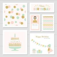 Cute cards with gold confetti glitter