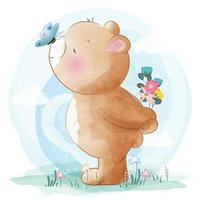 Cute little bear with butterfly on nose vector