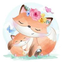 Cute little fox and butterflies vector
