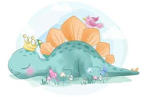 Cute Stegosaurus little dinosaur with bird