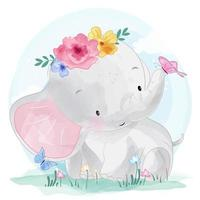 Cute little elephant and butterflies