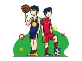 basket and football players