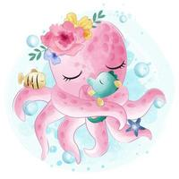 Cute little octopus hugging with seahorse