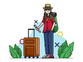 Tourism Character with Suitcase