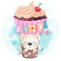 Cute little bear flying with air balloon vector