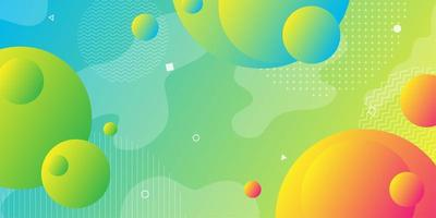Bright yellow green and blue gradient background with overlapping 3d shapes