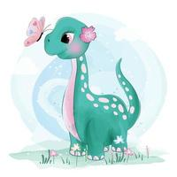 Cute little Brachiosaurus dinosaur with butterflies
