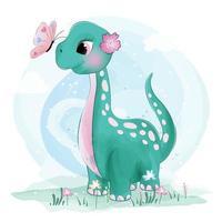 Bonito pequeno dinossauro Brachiosaurus com borboletas