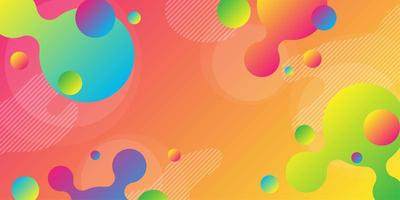 Bright red and orange gradient background with colorful overlapping shapes