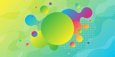 Bright yellow green sphere and colorful geometric shapes background