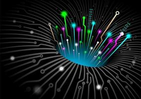 Conceito de tecnologia de fibra óptica de buraco negro