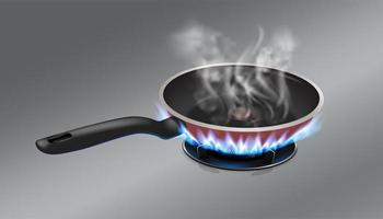 Frying pan on stove  vector