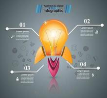 Conception infographique. Ampoule, lumière, icône de la fusée.