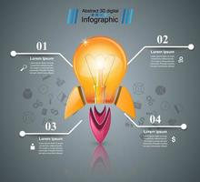 Diseño infográfico. Bombilla, luz, icono de cohete.