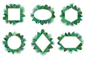 Collection of exotic tropical leaves frame set vector