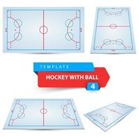 Hockey with ball. Four items template. vector