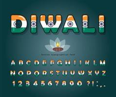 Diwali cartoon font. Indian national flag colors.  vector