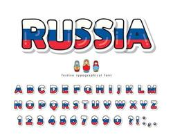 Russia cartoon font with  Russian national flag colors.