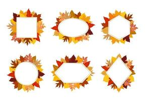 Collection of colorful autumn leaves frame set