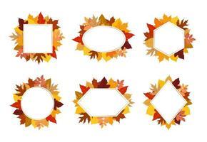 Collection de feuilles d'automne coloré jeu de cadre
