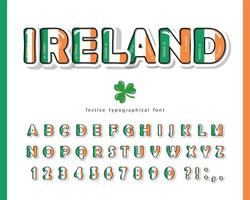 Ierland cartoon lettertype. Ierse nationale vlag kleuren. vector