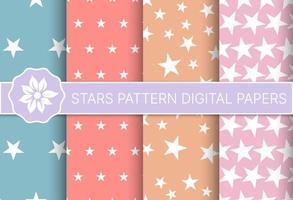 Conjunto de diseño de vacaciones de patrón de estrellas de transparente vector