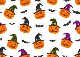Seamless pattern of pumpkins wearing witch hat and bats