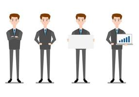 Set of businessmen standing on white background.