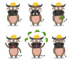 Cute buffalo cartoon set in different emotion