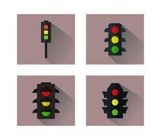 Insieme delle icone dei semafori su fondo bianco