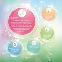 Transparent bubbles infographic with pastel color. vector
