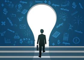 Businessmen walk up to the gap of Light bulb