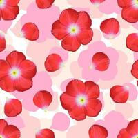 Red flower on seamless background. vector