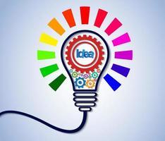 Idea creativa concepto bombilla engranaje colorido icono