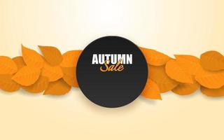 Autumn sale design with autumn leaves under circular text box vector