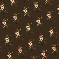 brown floral pattern with dots vector